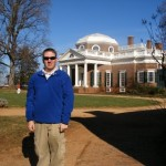 Jeremy Griffith, creator of American Millennium Online, in front of Thomas Jefferson's house. Nobody was home.