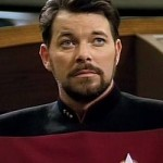Jonathan Frakes as Cmdr William Riker on Star Trek: the Next Generation.