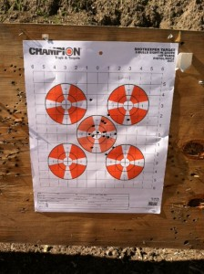 Final shot group with my S&W M&P 15. Not bad. -photo by Jeremy Griffith