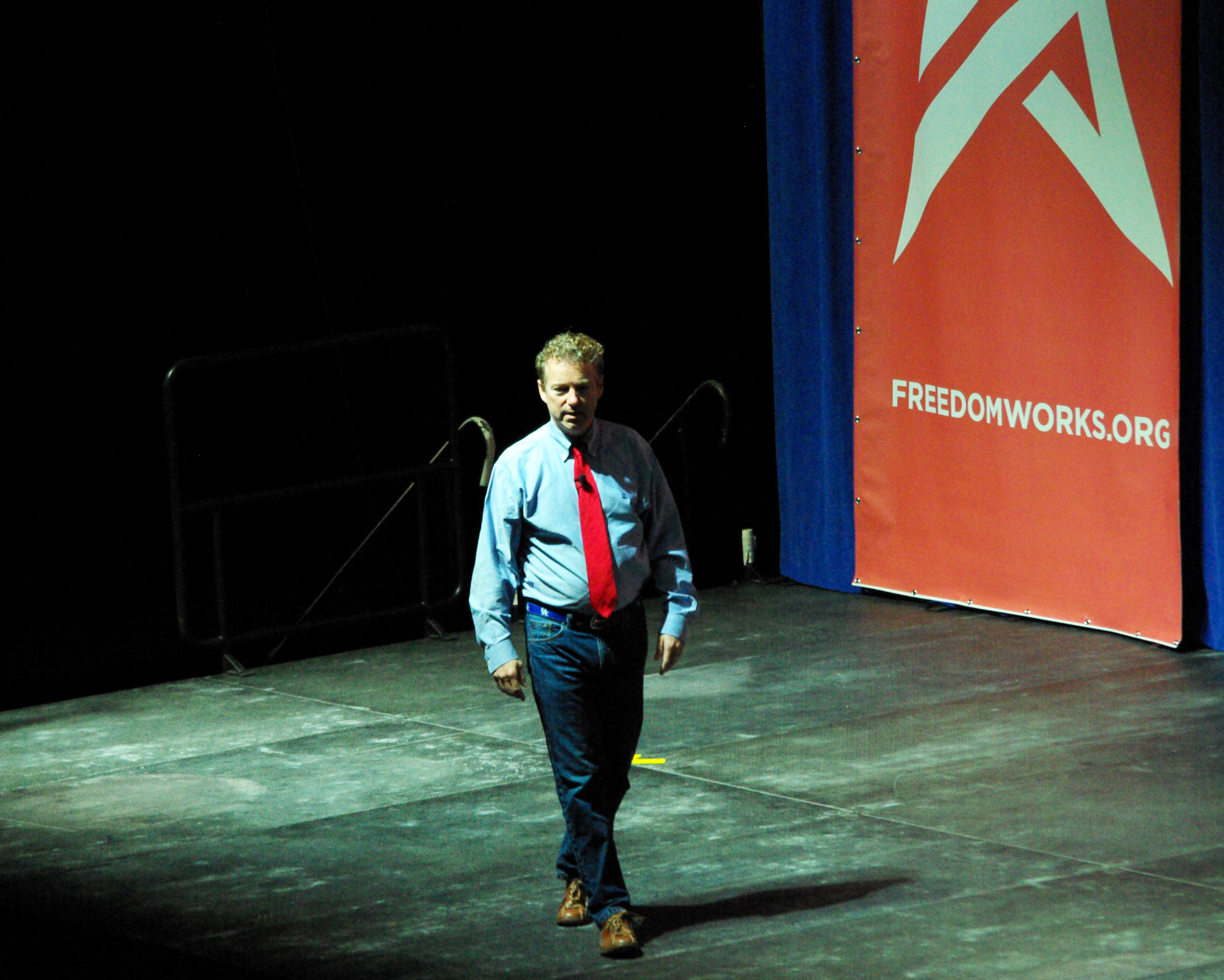 Kentucky Senator Rand Paul takes the stage at US Cellular Center in Cedar Rapids Iowa. The presidential candidate took part in the Freedomworks Rising Tide Summit Saturday. -photo by Jeremy Griffith