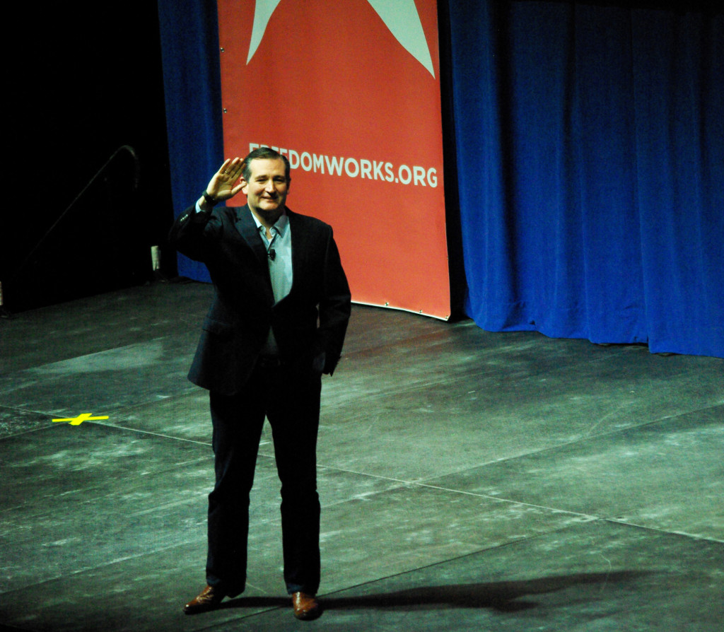 Texas Senator Ted Cruz is is greeted by an enthusiastic Iowa crowd in Cedar Rapids Saturday. -photo by Jeremy Griffith